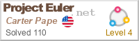 current level and number of problems solved on Project Euler