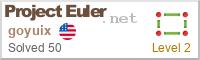 ProjectEuler.net Badge for Goyuix