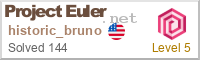 Badge for my Project Euler profile. Link to project page